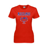 Ladies Red T Shirt-Stacked Basketball Design