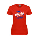 Ladies Red T Shirt-Angled Mustangs in Basketball