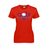 Ladies Red T Shirt-Stacked Golf Design