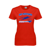 Ladies Red T Shirt-Rowing Design