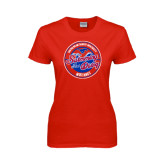 Ladies Red T Shirt-Swim and Dive Design