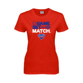 Ladies Red T Shirt-Game Set Match