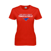 Ladies Red T Shirt-Track and Field Stacked Design