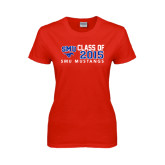 Ladies Red T Shirt-SMU Mustangs Class of Design