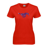 Ladies Red T Shirt-Rhinestone Pony