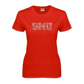 Ladies Red T Shirt-Rhinestone SMU