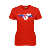 Ladies Red T Shirt-#PonyUpTempo Flat