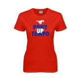 Ladies Red T Shirt-Pony Up Tempo Stacked