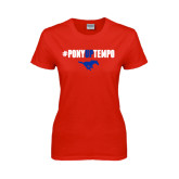 Ladies Red T Shirt-#PonyUpTempo Above Mustang