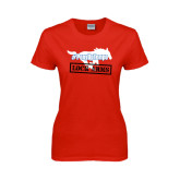 Ladies Red T Shirt-#PonyUpTempo Lock Arms
