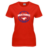 Ladies Red T Shirt-Mustangs Basketball Arched w/ Ball