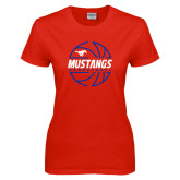 Ladies Red T Shirt-Mustangs Basketball Lined Ball