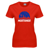 Ladies Red T Shirt-Mustangs Basketball Dallas Skyline