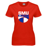 Ladies Red T Shirt-SMU Basketball Stacked on Ball