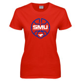 Ladies Red T Shirt-SMU Basketball Block Stacked in Circle