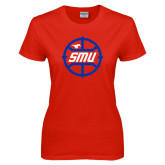 Ladies Red T Shirt-SMU Basketball Block in Circle