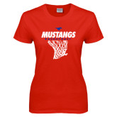 Ladies Red T Shirt-Mustangs Basketball Stacked w/ Net