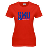 Ladies Red T Shirt-SMU Basketball Stencil