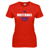 Ladies Red T Shirt-Mustangs Basketball Net Icon
