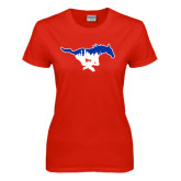 Ladies Red T Shirt-Dallas Skyline Logo