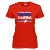Ladies Red T Shirt-2017 AAC Regular Season Mens Basketball Champions Stacked