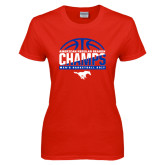Ladies Red T Shirt-2017 AAC Regular Season Champs - Mens Basketball Half Ball