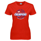 Ladies Red T Shirt-AAC Regular Season Champions 2017 Mens Basketball Lined Ball