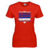 Ladies Red T Shirt-2017 AAC Regular Season Champions Repeating - Mens Basketball