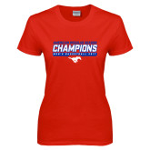 Ladies Red T Shirt-2017 AAC Regular Season Champions - Mens Basketball Stencil