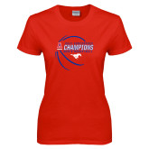 Ladies Red T Shirt-2017 AAC Conference Champions - Mens Basketball Contour Lines