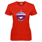 Ladies Red T Shirt-2017 AAC Conference Champions - Mens Basketball Arched Shadow