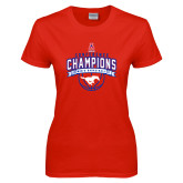 Ladies Red T Shirt-2017 AAC Conference Champions - Mens Basketball Arched Banner