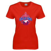 Ladies Red T Shirt-2017 AAC Conference Champions - Mens Basketball Arched Net