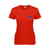 Ladies Red T Shirt-Official Outlined Logo