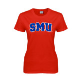 Ladies Red T Shirt-Block SMU