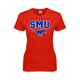 Ladies Red T Shirt-SMU w/Mustang