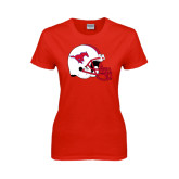 Ladies Red T Shirt-SMU Football Helmet