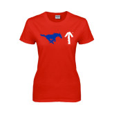 Ladies Red T Shirt-Pony Up