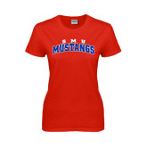 Ladies Red T Shirt-Arched SMU Mustangs