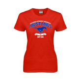 Ladies Red T Shirt-Arched Mustangs w/ Banner