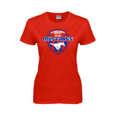 Ladies Red T Shirt-Mustangs in Shield