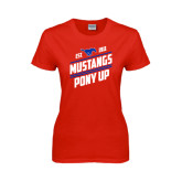 Ladies Red T Shirt-Mustangs Pony Up