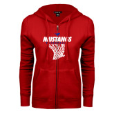 ENZA Ladies Red Fleece Full Zip Hoodie-Mustangs Basketball Stacked w/ Net