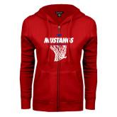 ENZA Ladies Red Fleece Full Zip Hoodie-Mustangs Basketball Stacked w/ Net