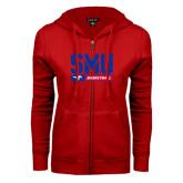 ENZA Ladies Red Fleece Full Zip Hoodie-SMU Basketball Stencil