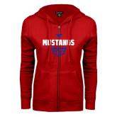 ENZA Ladies Red Fleece Full Zip Hoodie-Mustangs Basketball Net Icon