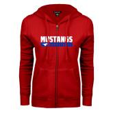 ENZA Ladies Red Fleece Full Zip Hoodie-Mustangs Basketball Stacked Bar