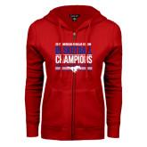 ENZA Ladies Red Fleece Full Zip Hoodie-2017 AAC Regular Season Mens Basketball Champions Stacked