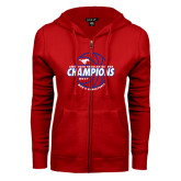 ENZA Ladies Red Fleece Full Zip Hoodie-AAC Regular Season Champions 2017 Mens Basketball Lined Ball
