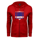 ENZA Ladies Red Fleece Full Zip Hoodie-2017 AAC Regular Season Champions Repeating - Mens Basketball